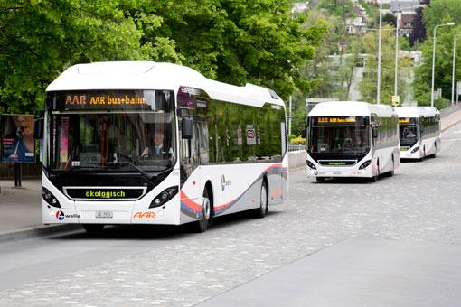 Volvo Hybridbussar i Aarau, Schweiz. Foto: Volvo.
