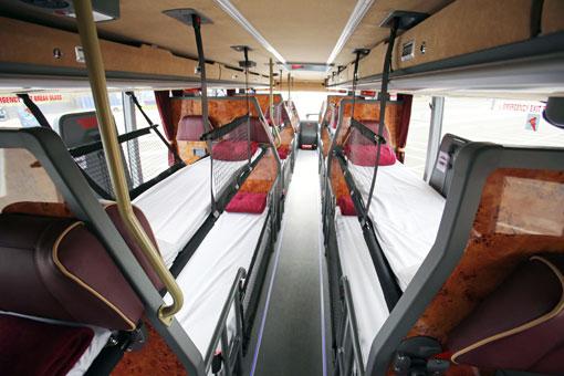 De 55 sittplatserna kan förvandlas till 42 sovplatser.