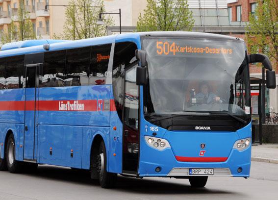 En av Vänersborgs Linjetrafiks bussar i trafik åt Buss i Väst när det begav sig. Foto: Ulo Maasing.