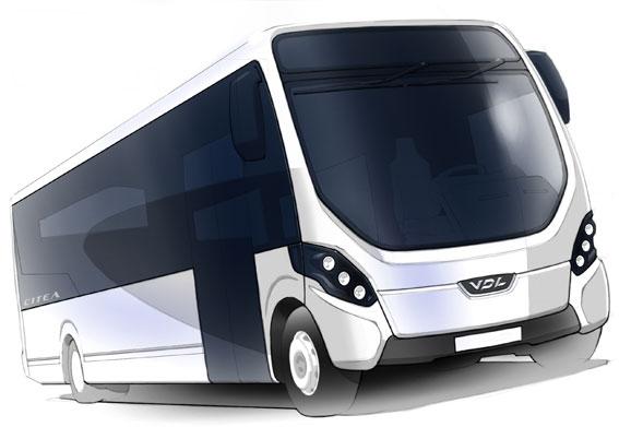 VDL:s nya midiversion av Citea, här illustrerad av en skiss, är utvecklad i samarbete med Wrightbus. Bild: VDL.