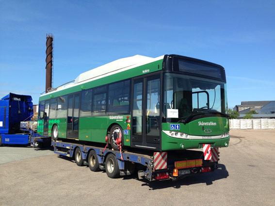 Landskronas nya trådbuss levereras. Foto: Solaris.