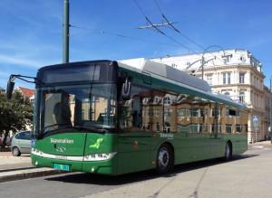 På måndagen sätts den första elbussen med slideinteknik i trafik i Landskrona. Foto: Solaris.
