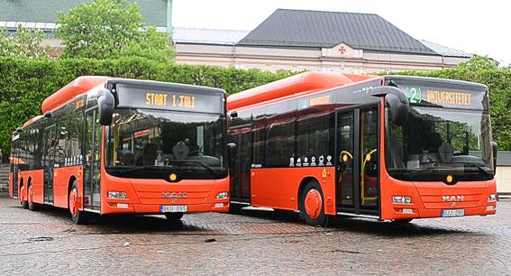 MAN:s bussproduktion dras med ökade förluster. Men samtidigt har den svenska stadsbussmarknaden lyft försäljningen. I Karlstad har hela stadsbussflottan bytts mot nya MAN-bussar. Foto: Karlstadsbuss.
