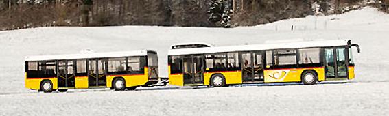 Släp till bussar används på flera håll i Europa, som här hos PostAuto i Schweiz. Snart ska lösningen testas i Skåne. Foto: PostAuto.