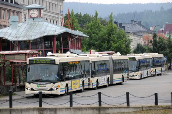 Stadstrafiken i Sundsvall krs idag av Keolis. Nästa år tar Nobina över. Då kommer också stadstrafiken till stor del att köras med hybridbussar. Foto: Ulo Maasing.