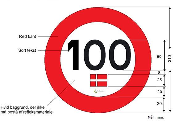 Så ska den danska Tempo 100-skylten se ut.