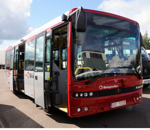 En Autosanbuss i Blekingetrafikens färger. Nu har Autosan gått i konkurs. Foto: Ulo Maasing.
