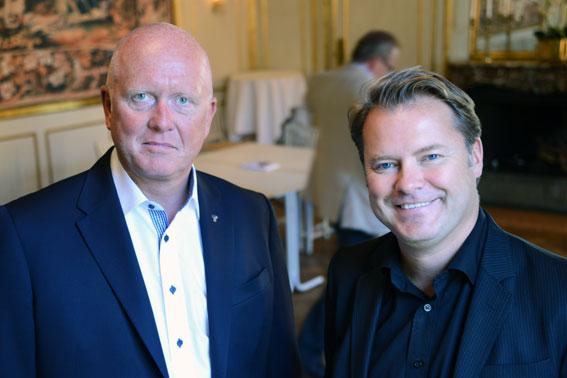 TransportGruppens och Bussarbetsgivarnas vd Peter Jeppsson (till vänster) och BR:s ordförande John Strand presenterade på torsdagen hur framtidens organisation för den svenska bussbranschen ska se ut. Foto: Ulo Maasing.