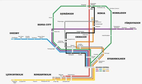 Det nya linjenätet för stadstrafiken i Kalmar har satt fart på bussresandet. Karta: KLT.