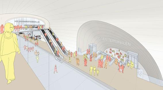 Entrén till den planerade bussterminalen i Katarinaberget i Stockholm. Frågan är vem som ska betala. Illustration: Foster + Partners och Berg Arkitektkontor.