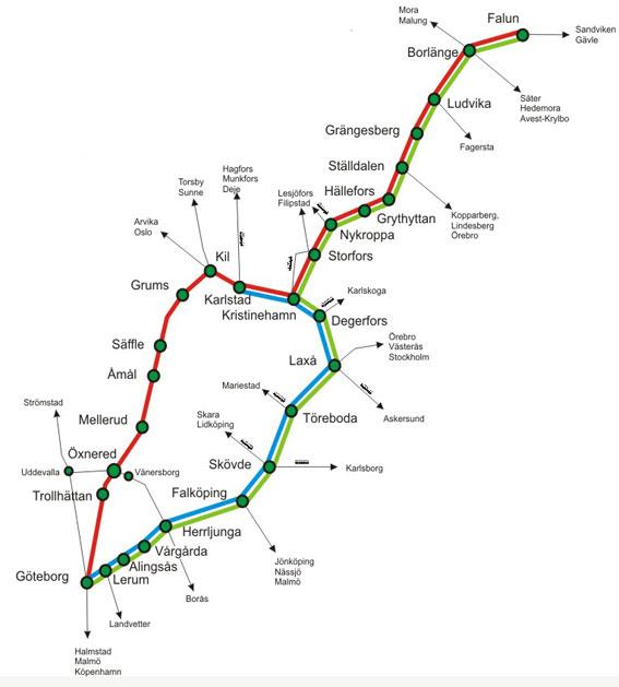 Tågabs linjenät för persontrafiken. Kart: Tågab.