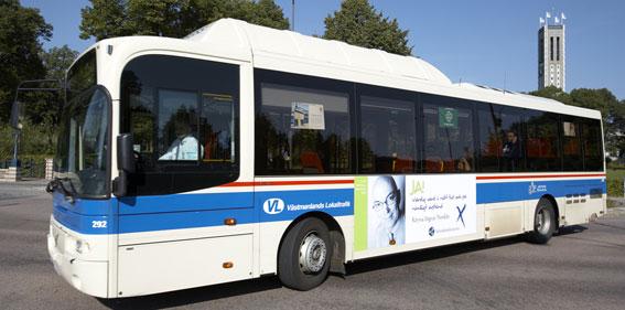 Nu har turen kommit till Västerås. Attentat och skadegörelse tvingar lokaltrafiken att dra in bussar. Foto: Västmanlands Lokaltrafik.