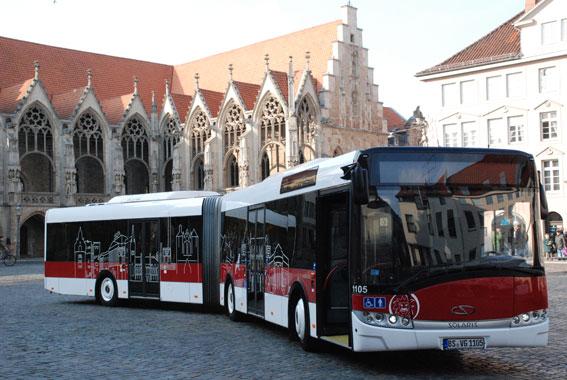 Den tyska staden Braunschweig har beställt eldrivna ledbussar från Solaris. Foto: Braunschweiger Verkehrs-AG.