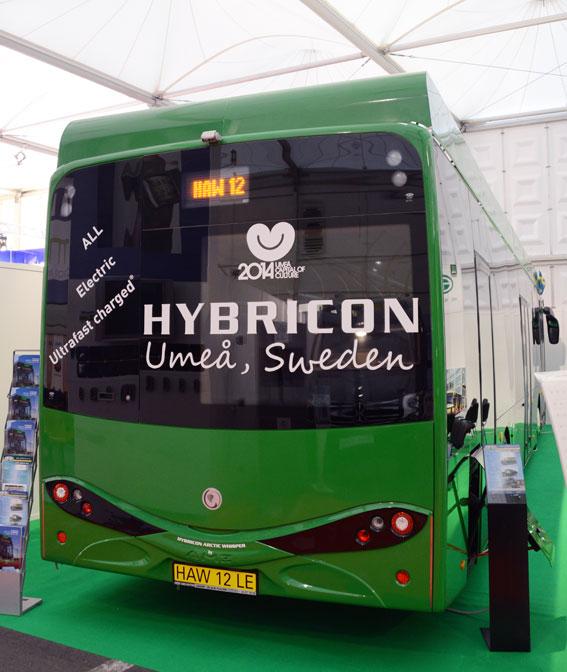 På väg till Umeå. Hybricons ultrasnabbladdade elbuss för Umeå gjorde ett stopp på Busworld. Foto: Ulo Maasing.
