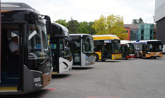 Elbussar på rad. Eldrivna bussar är billigare än andra om man ser till alla kostnader under deras livslängd, slår en färsk forskningsrapport från Blekinge Tekniska Högskola fast. Foto: Ulo Maasing.
