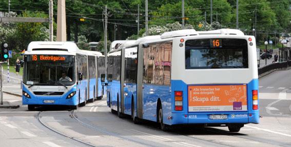 Busstrafiken har varit den verkliga vinnaren på trängselskatten i Göteborg. Stombussarna har ökat resandet med 17 procent och expressbussarna med 20 procent. Foto: Ulo Maasing.