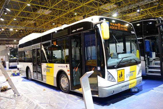 Välkända Van Hool visar på Busworld också en elbuss, A308 Electric. Foto: Ulo Maasing.