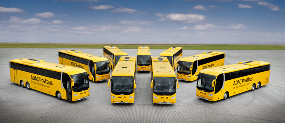 Scania har levererat ytterligare 21 bussar till det tyska expressbussföretaget ADAC Postbus. Foto: Scania.