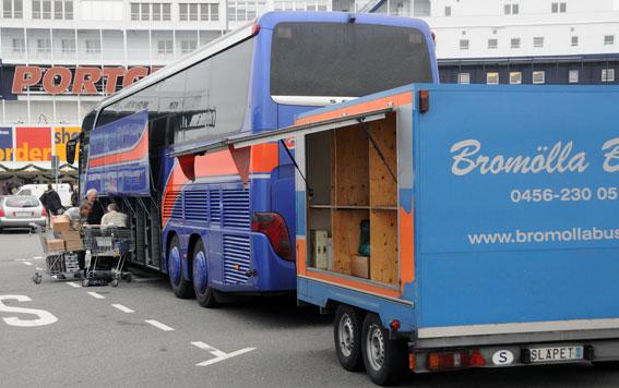 Bromölla Buss startar linjetrafik till Bordershop i Puttgarden. Foto: Ulo Maasing.