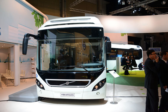 Största blickfånget i Volvomontern var hybridledbussen. Foto: Ulo Maasing.