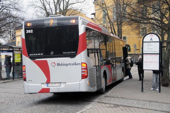 Stadsbusslinje 7 i Karlskrona står tillsammans med linje 1 för 40 procent av resandet i Karlskrona stadstrafik. Foto: Ulo MAasing.