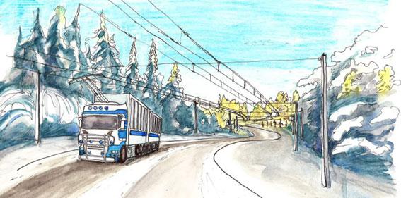 Trådlångtradare? VTI inleder ett stort forskningsprojekt om elvägar som ska göra det möjligt för bussar och lastbilar att köra på el även mycket långa sträckor. Illustration: Trafikverket.
