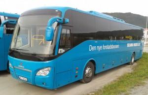 I Norge har marknadsföringen av Scania Higer A30 redan kommit igång. Foto: Scania.