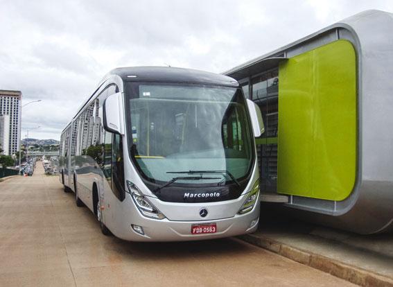 Brasilianska städer storsatsar på BRT inför Fotbolls-VM och OS 2016. Belo Horizonte har beställt 500 Mercedesbussar till sitt nya BRT-system. Foto: Daimler Buses.