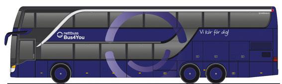 Sex nya Setra dubbeldäckare ska sättas in i Bus4yous trafik mellan Oslo och Malmö via Göteborg.