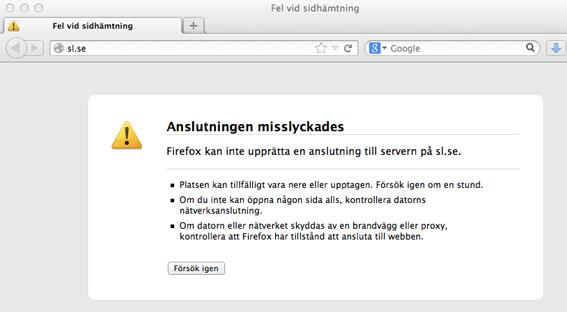 Så såg hemsidan för hälften av Sveriges kollektivtrafik ut under nästan ett dygn i nyårshelgen.