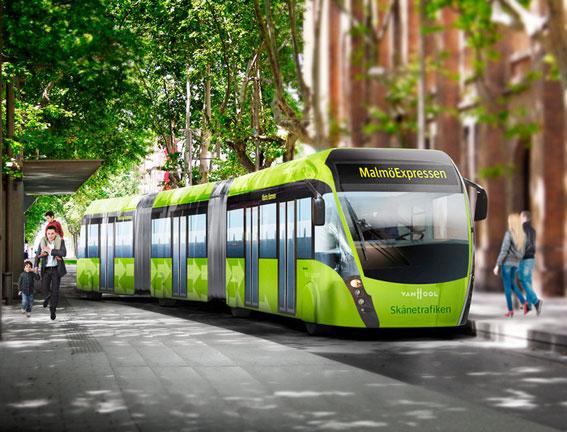 Malmöexpressen har premiär i juni. En satsning på kollektivtrafik, bland annat superbussar, avgör om bostadsbyggandet i Skåne ska öka. Bild: Skånetrafiken.