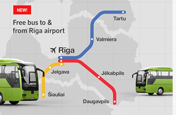 airBaltics gratisbusslinjer från den 1 mars. Illustration: airBaltic.