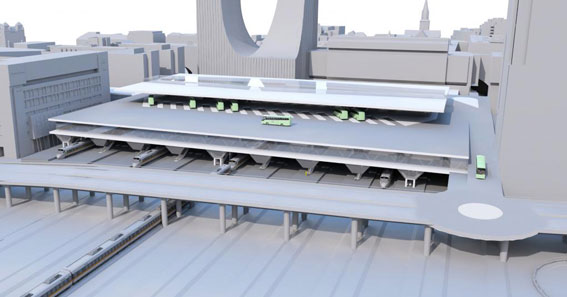 Oslo planerar en helt ny bussternminal i city som ska ersätta den nuvarande, intill centralstationen. Den nya terminalen är tänkt att byggas tvärs över spårområdet vid Oslo S. Illustration: COWI/MAD.