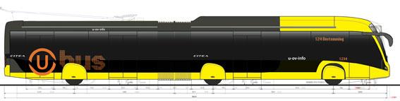 VDL lanserar i mitten av nästa år en BRT-version av sin stadsbuss Citea i ledversion. Illustration: VDL Bus&Coach.