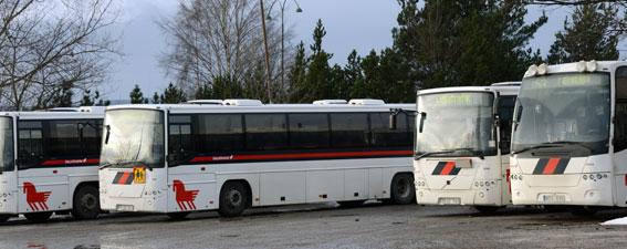 Nobinabussar i Borlänge. Turerna blir allt fler och klimatet allt frostigare kring Dalatrafiks bussupphandling. Foto: Ulo Maasing.