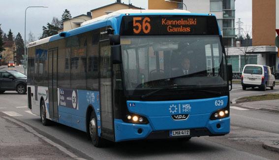 En av Pohjolan Liikennes VDL Citea LLE i trafik i Helsingfors. Foto: VDL.