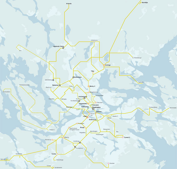Miljöpartiets förslag till superbussar i Storstockholm.