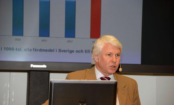 Mikael Persson, Sveriges Bussföretag, redovisade rykande färska siffror om utvecklingen av bussturism. Foto: Ulo Maasing.