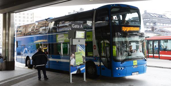 Har kört sin sista tur. Den kommersiella linjen Djurgårdsbussen i Stockholm läggs ner av Nobina. Foto: Ulo Maasing.