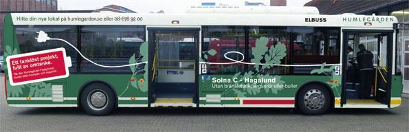 Innan den sätts i trafiken kommer bussen att strajpas. Bild: Humlegården Fastigheter.