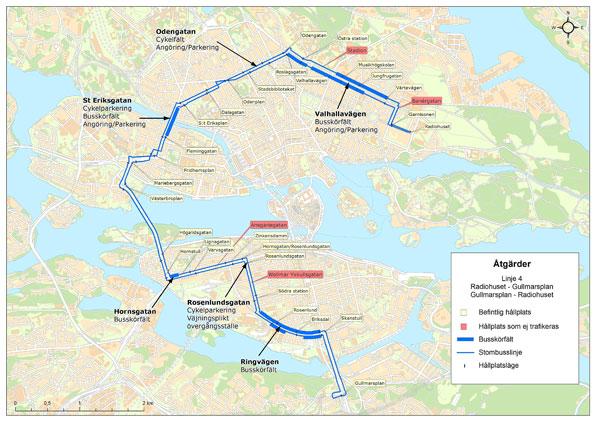 Karta över insatser för bussprioriteringar på stombusslinje 4 i Stockholm.