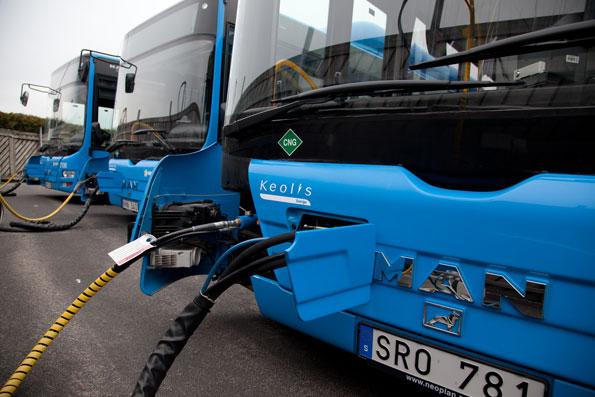 GAsbussar från MAN hos Keolis i Göteborg. MAN förlorade förra året 107 000 kronor på varje buss man tillverkade. Foto: MAN.