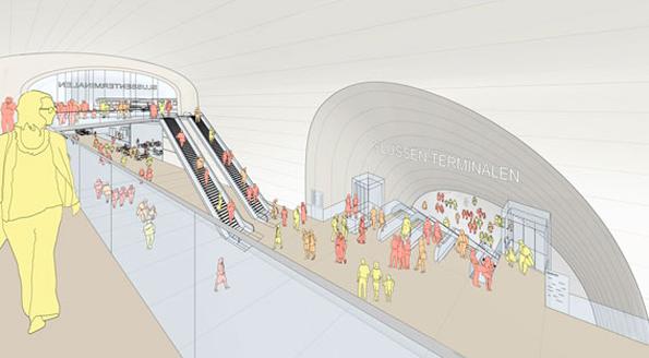 Stannar på papperet. Så här var det tänkt att entrén till den jättelika bussterminalen i Katarinaberget i Stockholm skulle se ut. Nu har planerna definitivt stoppats. Illustration: Foster + Partners och Berg Arkitektkontor.