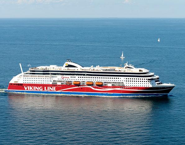 Viking Lines flaggskepp Viking Grace har en roll i dramat. Foto: Viking Line.