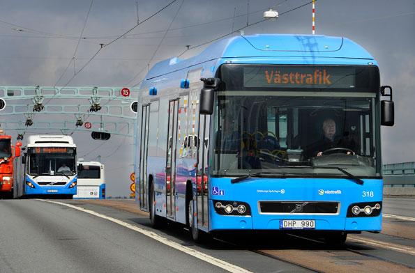 Även Uddevalla satsar nu på hybridbussar. Foto: Volvo Bussar.
