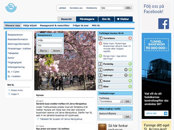 SL:s hemsida som den ser ut idag.
