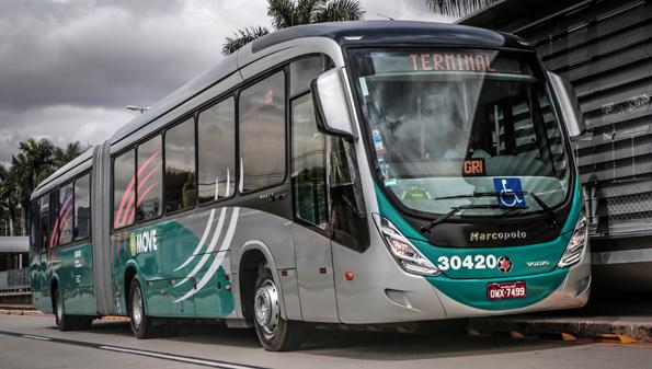 En Volvobuss med Marcopolokaross i Brasilien. I Latinamerika ökade Volvo Bussars leveranser med två procent. Foto:Volvo Bussar.