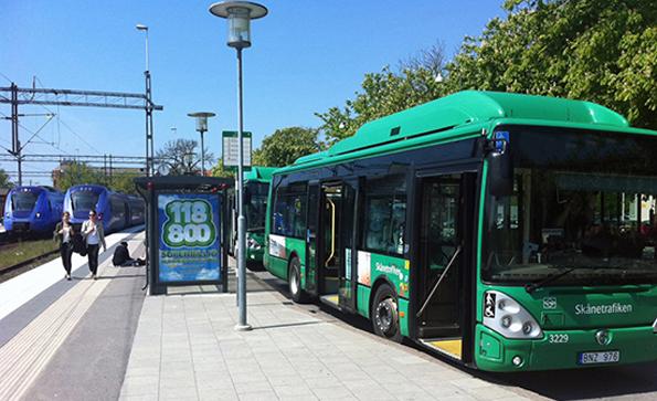 Ystads station kommer att trafikeras av en ny stadsbusslinje. Foto: Ystads kommun.