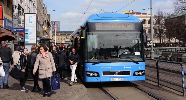 En hybridbuss i Göteborg med GS Buss som operatör. Foto: Ulo Maasing.