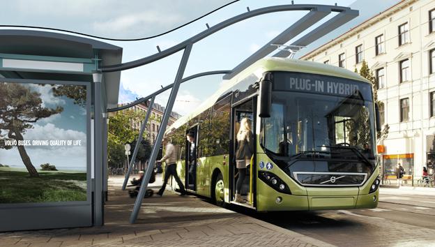 Volvo har fortsatta försäljningsframgångar internationell med sina hybridbussar. Snart kommer laddhybriderna ut på marknaden. Foto: Volvo Bussar.